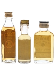Bonnie Charlie, Seagram's 100 Pipers & Teacher's Bottled 1970s & 1980s 3 x 3cl-5cl / 40%