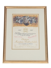 Chateau Mouton Rothschild 1987 Framed Label Print