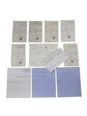 John Watney & Co. Wandsworth Distillery Correspondence & Receipts, Dated 1877-1907