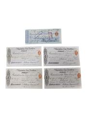 William Jameson Marrowbone Lane Distillery Receipts & Cheque, Dated 1886-1889