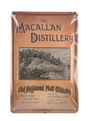 Macallan Distillery Old Highland Malt Whisky Tin Sign  20cm x 29cm