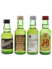 Black Bottle, Catto's, Findlater's & J & B Bottled 1980s 4 x 5cl
