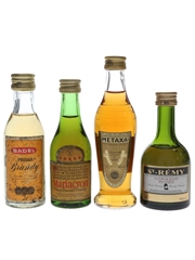 Assorted Brandy Badel, Mariacron, Metaxa & St Remy 4 x 5cl
