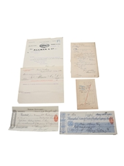 Allman & Co. Bandon Distillery Correspondence, Bill, Purchase Receipts & Cheques, Dated 1889-1909