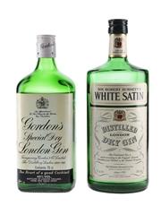 Gordon's Special Dry London and Sir Robert Burnett's White Satin Gin Bottled 1980s 75cl / 40%