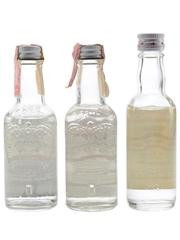 Smirnoff Blue & Red Label Vodka Bottles 1970s 3 x 5cl