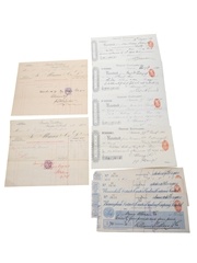 Bandon Distillery Purchase Receipts, Cheques & Invoices, Dated 1887-1910