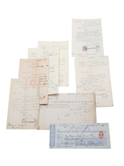 Deinhard & Co. Correspondence, Purchase Receipts, Invoices & Cheque, Dated 1877-1904