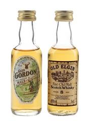 Old Elgin 8 Year Old & Glen Gordon 8 Year Old Bottled 1980s 2 x 5cl / 40%