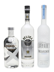 Beluga Vodka, Belvedere Vodka & Absolut Vanilla Vodka