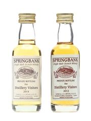 Springbank Distillery Visitors 2012 & 2014 Miniatures