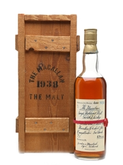 Macallan 1938 Handwritten Label Bottled 1980s - Bottle Number 13 75cl / 43%