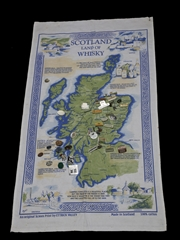 Scotland Land Of Whisky Towel & Pin Badges 80cm x 46cm