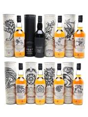 Game Of Thrones Whiskies Set Cardhu, Clynelish, Dalwhinnie, Glendullan, Lagavulin, Oban, Royal Lochnagar, Talisker 8 x 70cl