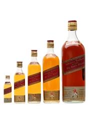 Johnnie Walker Red Label Bottled 1970s - Graduated Set 5 x 5cl-187.5cl