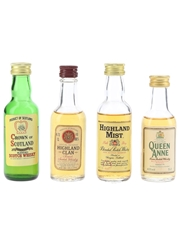Assorted Blended Scotch Whisky Crown Of Scotland, Highland Clan, Highland Mist & Queen Anne 4 x 4.7cl-5cl