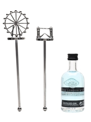The London No1 Original Blue Gin With Cocktail Stirrers 5cl / 47%