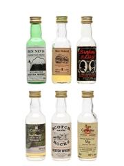 Assorted Blended Scotch Whisky Ben Nevis, Ben Roland, Brahms & Liszt, Celtic, Scotch On The Rock & Tax Collector 6 x 5cl / 40%