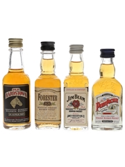 Assorted Kentucky Straight Bourbon Whiskey Forester, Jim Beam, Old Bardstown & Penny Packer 4 x 4cl-5cl