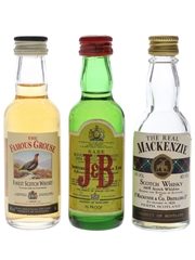 Famous Grouse, J&B And The Real Mackenzie  3 x 5cl / 40%