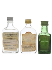 Booth's, Gordon's & Squires London Dry Gin Bottled 1970s-1980s 3 x 3.9cl-4cl