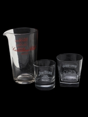 Tumblers & Water Jug Canadian Club, Jim Beam, Southern Comfort