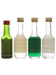 Assorted Bols Liqueurs Creme De Bananes, Green Curacao, Kummel, Persico 4 x 5cl