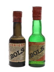 Bols Apricot & Dry Orange Curacao Bottled 1950s-1960s 2 x 5cl