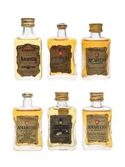 Casoni & Illva Amaretto Bottled 1960s-1970s 6 x 2.9cl-3cl