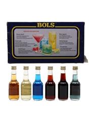 Bols Minipack Apricot Brandy, Creme De Bananes, Blue Curacao, Cherry Brandy, Creme De Cacao, Parfait Amour 6 x 5cl