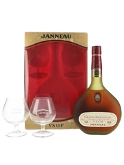 Janneau VSOP Grand Armagnac Glass Pack Bottled 1980s 68cl / 40%