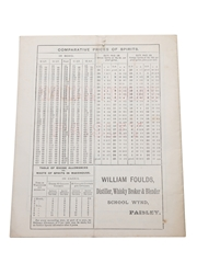 William Foulds List Of Old Scotch Whiskies, February 1893 Wholesale Price List