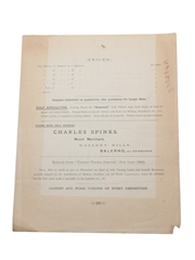 Charles Spinks Shives, Taps, Spiles Price List Late 19th Century