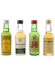 Cutty Sark, House Of Commons, J&B & Pig's Nose Bottled 1970s-1980s 4 x 4.7cl-5cl / 40%