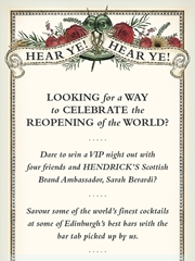 VIP Edinburgh Bar Experience for You and 4 Friends with Bar Tab Hosted by the Hendrick's Brand Ambassador