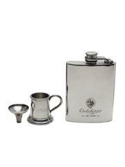 Dalwhinnie 100 Years Anniversary Hip Flask With Funnel And Metal Cup English Pewter 12cm x 8.5cm & 4.5cm