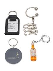 Assorted Scotch Whisky Keyrings Dewar's, Findlater's, Johnnie Walker, Monkey Shoulder