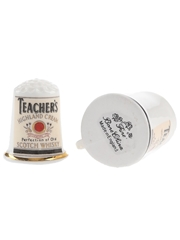 Teacher's Highland Cream Tiny Ceramic Cup & Thimble  2.5cm & 3cm Tall