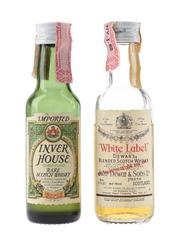 Dewar's White Label & Inver House Green Plaid Bottled 1970s-1980s 2 x 4.7cl-5cl