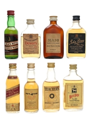 Assorted Blended Scotch Whisky Incl. Johnnie Walker Red Bottled 1970s 8 x 5cl