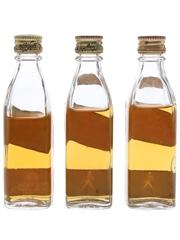 Johnnie Walker Black & Red Label Bottled 1970s-1980s 3 x 4.7cl & 5cl