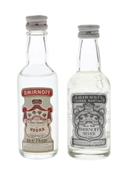 Smirnoff Red & Silver Label Bottled 1970s-1980s - International Distillers & Vintners 2 x 5cl