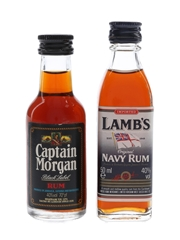 Captain Morgan & Lamb's Bottled 1970s & 1980s 2 x 5cl / 40%