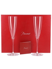 Baccarat Crystal Champagne Flutes  23.5cm Tall