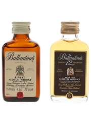 Ballantine's Finest & 12 Year Old Bottled 1970s-1980s 2 x 4.7cl-5cl
