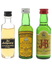 Antiquary, Cutty Sark & J&B Bottled 1970s & 1980s 3 x 4.6cl-5cl