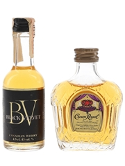 Black Velvet & Crown Royal Bottled 1970s & 1980s 2 x 4.5cl-5cl