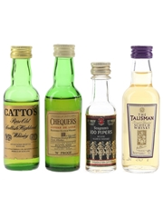 Assorted Blended Scotch Whisky Catto's, Chequers, Seagram's & Talisman 4 x 4cl-5cl