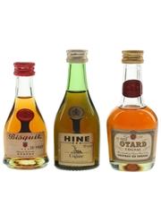 Bisquit, Hine & Otard Cognac Bottled 1970s 3 x 5cl / 40%