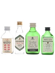 Booth's, Gilbey's, Gordon's & White Satin Bottled 1970s 4 x 5cl / 40%